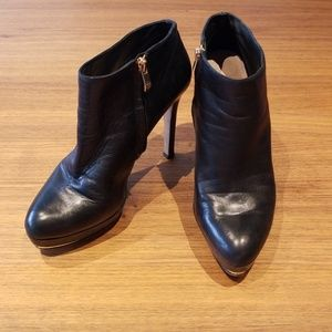 Vince Camuto Black Genuine Leather Ankle Boots